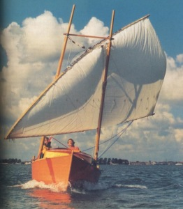 A crab claw suspended from an H-shaped double mast in Holland!